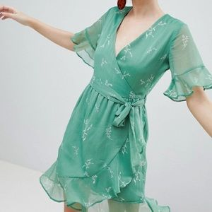 Neon rose green romantic floral wrap dress